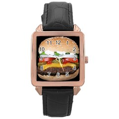 Abstract Barbeque Bbq Beauty Beef Rose Gold Leather Watch
