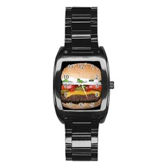 Abstract Barbeque Bbq Beauty Beef Stainless Steel Barrel Watch