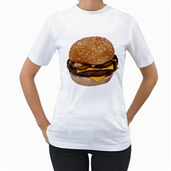 Cheeseburger On Sesame Seed Bun Women s T Shirt (white) (two Sided)