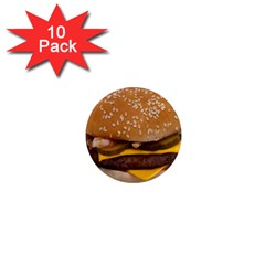Cheeseburger On Sesame Seed Bun 1  Mini Magnet (10 Pack)