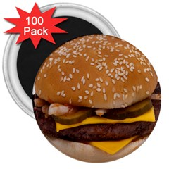 Cheeseburger On Sesame Seed Bun 3  Magnets (100 Pack)