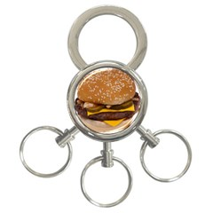 Cheeseburger On Sesame Seed Bun 3-Ring Key Chains