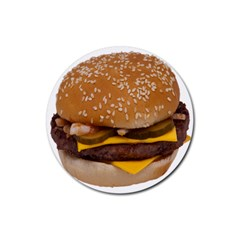 Cheeseburger On Sesame Seed Bun Rubber Round Coaster (4 pack)