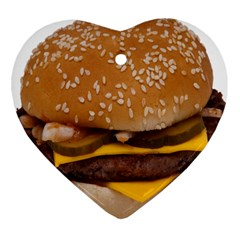 Cheeseburger On Sesame Seed Bun Heart Ornament (two Sides)