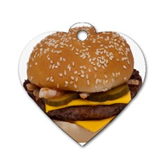 Cheeseburger On Sesame Seed Bun Dog Tag Heart (two Sides)