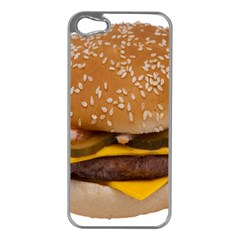 Cheeseburger On Sesame Seed Bun Apple iPhone 5 Case (Silver)