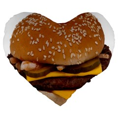 Cheeseburger On Sesame Seed Bun Large 19  Premium Heart Shape Cushions