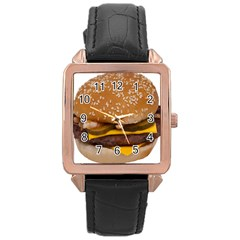 Cheeseburger On Sesame Seed Bun Rose Gold Leather Watch