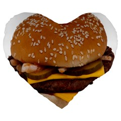 Cheeseburger On Sesame Seed Bun Large 19  Premium Flano Heart Shape Cushions