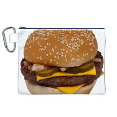 Cheeseburger On Sesame Seed Bun Canvas Cosmetic Bag (xl)