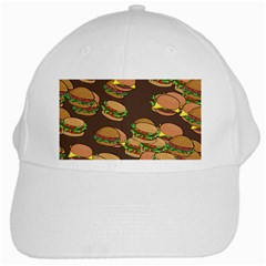A Fun Cartoon Cheese Burger Tiling Pattern White Cap