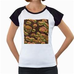 A Fun Cartoon Cheese Burger Tiling Pattern Women s Cap Sleeve T