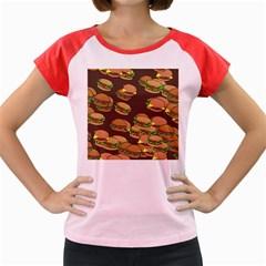 A Fun Cartoon Cheese Burger Tiling Pattern Women s Cap Sleeve T Shirt