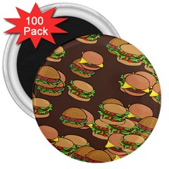 A Fun Cartoon Cheese Burger Tiling Pattern 3  Magnets (100 Pack)
