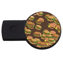 A Fun Cartoon Cheese Burger Tiling Pattern USB Flash Drive Round (2 GB)