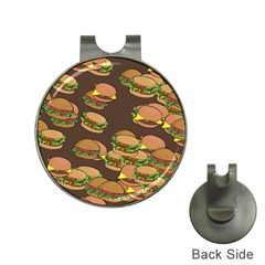 A Fun Cartoon Cheese Burger Tiling Pattern Hat Clips with Golf Markers
