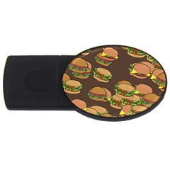 A Fun Cartoon Cheese Burger Tiling Pattern Usb Flash Drive Oval (4 Gb)