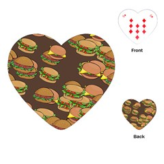 A Fun Cartoon Cheese Burger Tiling Pattern Playing Cards (heart)