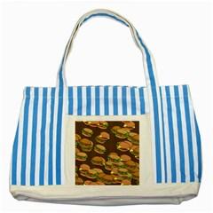 A Fun Cartoon Cheese Burger Tiling Pattern Striped Blue Tote Bag