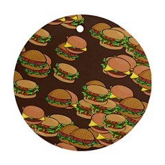A Fun Cartoon Cheese Burger Tiling Pattern Round Ornament (Two Sides)