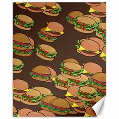 A Fun Cartoon Cheese Burger Tiling Pattern Canvas 11  X 14
