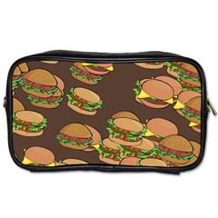 A Fun Cartoon Cheese Burger Tiling Pattern Toiletries Bags
