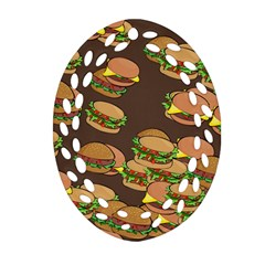 A Fun Cartoon Cheese Burger Tiling Pattern Oval Filigree Ornament (two Sides)