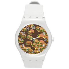 A Fun Cartoon Cheese Burger Tiling Pattern Round Plastic Sport Watch (M)