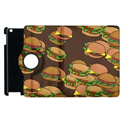 A Fun Cartoon Cheese Burger Tiling Pattern Apple iPad 2 Flip 360 Case