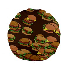 A Fun Cartoon Cheese Burger Tiling Pattern Standard 15  Premium Round Cushions