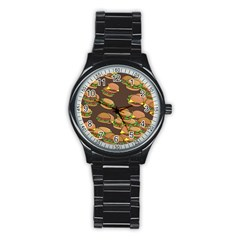 A Fun Cartoon Cheese Burger Tiling Pattern Stainless Steel Round Watch