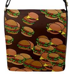 A Fun Cartoon Cheese Burger Tiling Pattern Flap Messenger Bag (s)