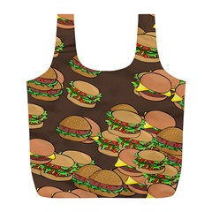 A Fun Cartoon Cheese Burger Tiling Pattern Full Print Recycle Bags (L)