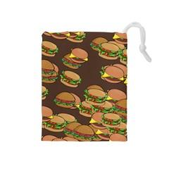A Fun Cartoon Cheese Burger Tiling Pattern Drawstring Pouches (Medium)