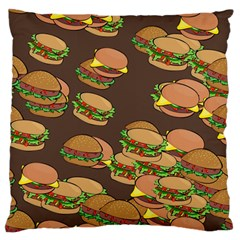 A Fun Cartoon Cheese Burger Tiling Pattern Large Flano Cushion Case (Two Sides)