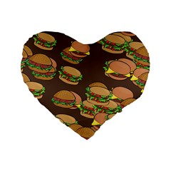 A Fun Cartoon Cheese Burger Tiling Pattern Standard 16  Premium Flano Heart Shape Cushions