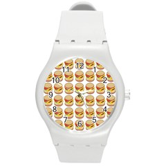 Hamburger Pattern Round Plastic Sport Watch (M)