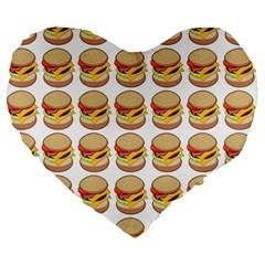 Hamburger Pattern Large 19  Premium Heart Shape Cushions