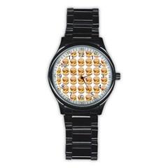 Hamburger Pattern Stainless Steel Round Watch