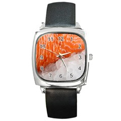 Abstract Angel Bass Beach Chef Square Metal Watch