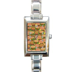 Burger Double Border Rectangle Italian Charm Watch