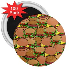 Burger Double Border 3  Magnets (100 pack)