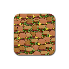 Burger Double Border Rubber Square Coaster (4 Pack)