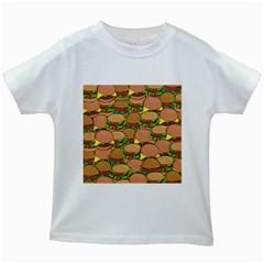 Burger Double Border Kids White T Shirts