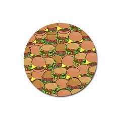 Burger Double Border Magnet 3  (Round)