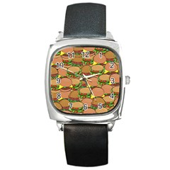 Burger Double Border Square Metal Watch