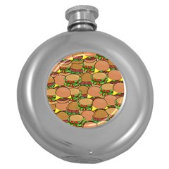 Burger Double Border Round Hip Flask (5 Oz)