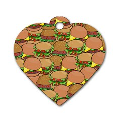 Burger Double Border Dog Tag Heart (two Sides)