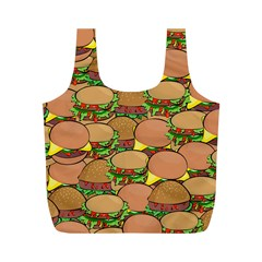 Burger Double Border Full Print Recycle Bags (M)