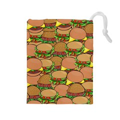 Burger Double Border Drawstring Pouches (large)